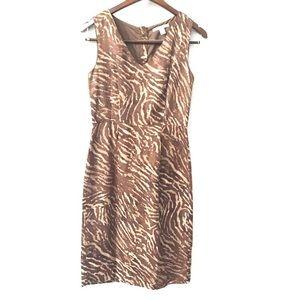 Banana Republic Linen Blend Giraffe Print Dress 0